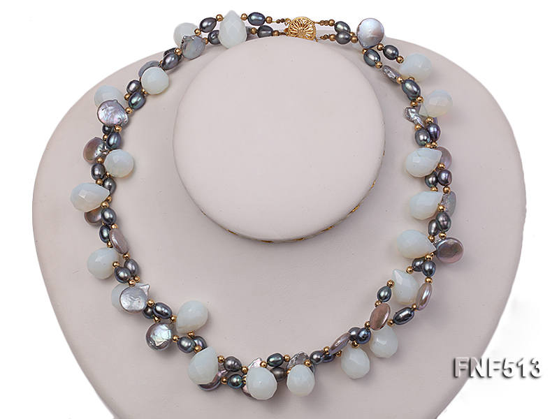 Two-strand Gray Freshwater Pearl and White Drop-shaped Moonstone Necklace big Image 2