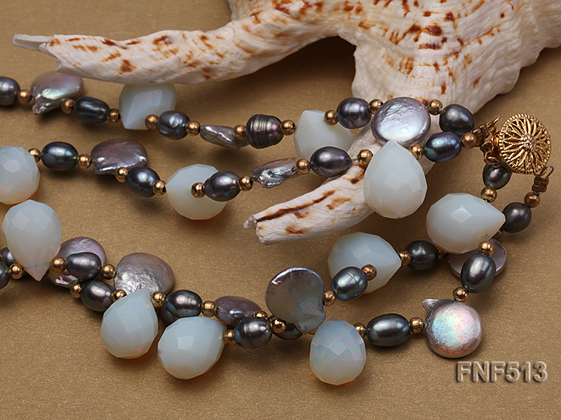Two-strand Gray Freshwater Pearl and White Drop-shaped Moonstone Necklace big Image 3