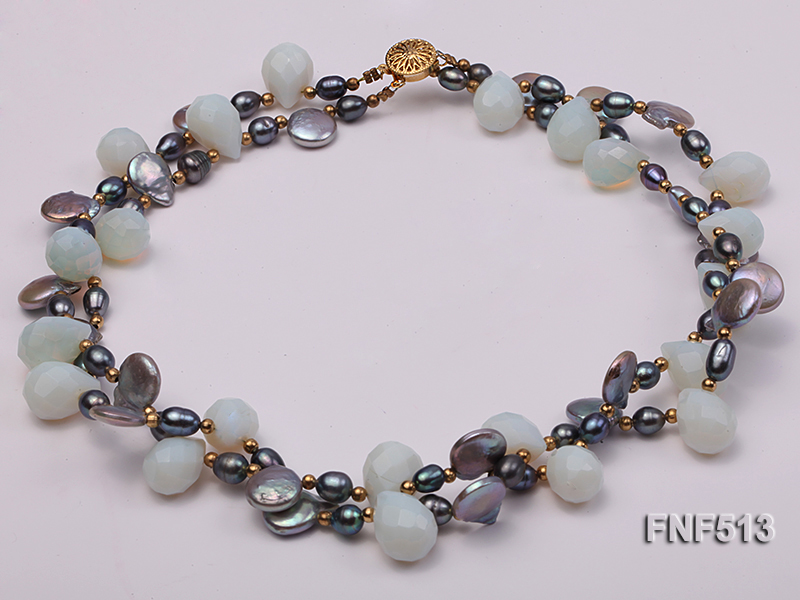 Two-strand Gray Freshwater Pearl and White Drop-shaped Moonstone Necklace big Image 4
