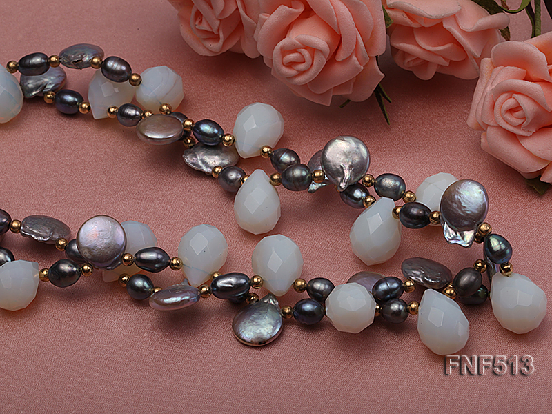 Two-strand Gray Freshwater Pearl and White Drop-shaped Moonstone Necklace big Image 5