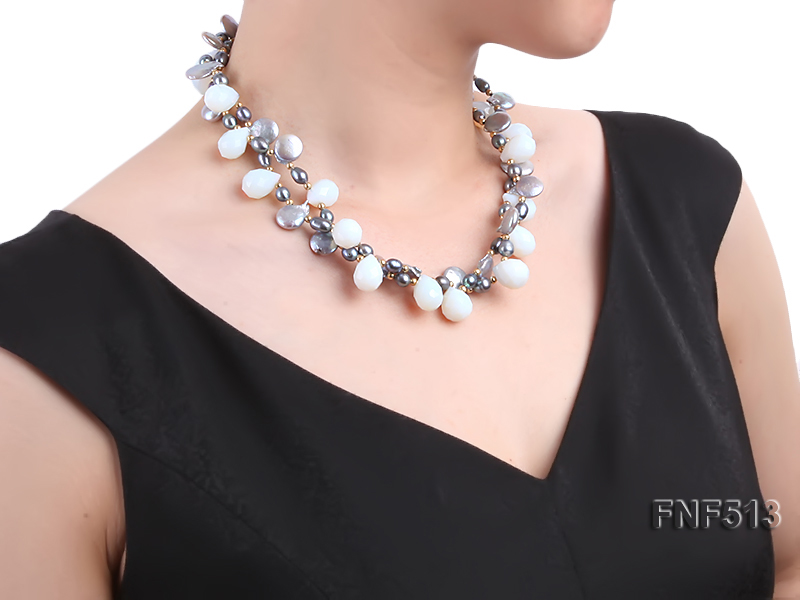 Two-strand Gray Freshwater Pearl and White Drop-shaped Moonstone Necklace big Image 7