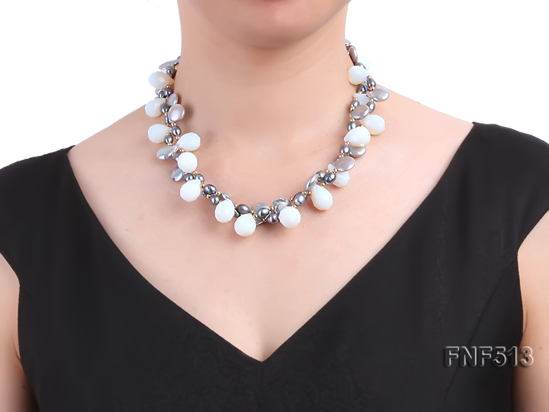 Two-strand Gray Freshwater Pearl and White Drop-shaped Moonstone Necklace big Image 1