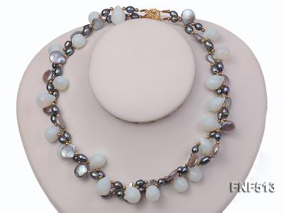 Two-strand Gray Freshwater Pearl and White Drop-shaped Moonstone Necklace FNF513 Image 2
