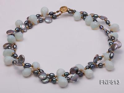 Two-strand Gray Freshwater Pearl and White Drop-shaped Moonstone Necklace FNF513 Image 4