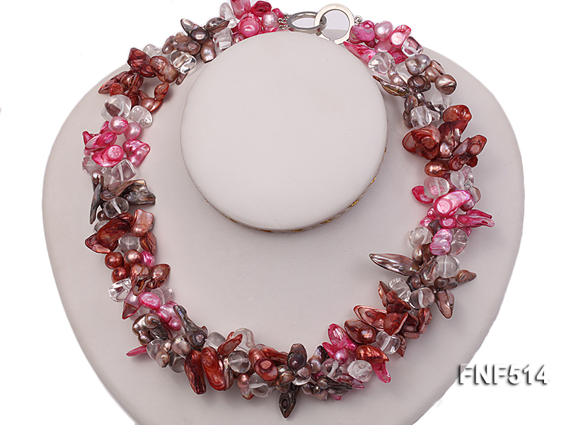 Three-strand green, Coffee and Pink Freshwater Necklace Dotted with White Quartz Beads big Image 1