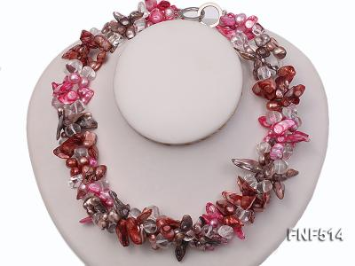 Three-strand green, Coffee and Pink Freshwater Necklace Dotted with White Quartz Beads FNF514 Image 1