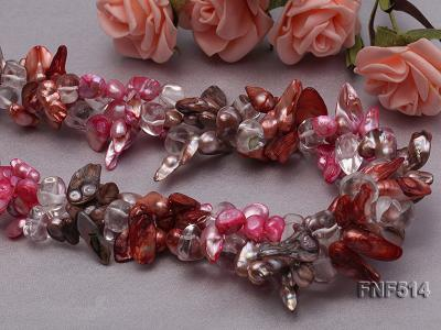 Three-strand green, Coffee and Pink Freshwater Necklace Dotted with White Quartz Beads FNF514 Image 7