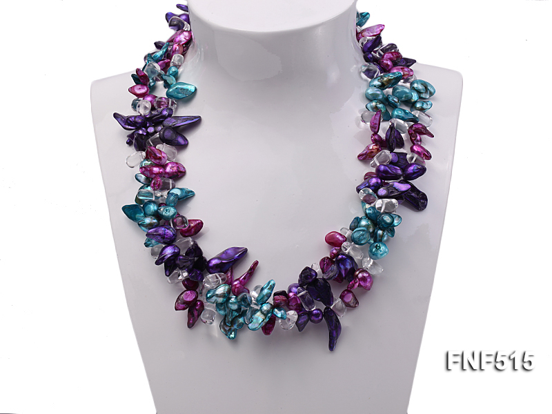 Three-strand 10-25mm Colorful Freshwater Pearl Necklace with Crystal Beads big Image 2