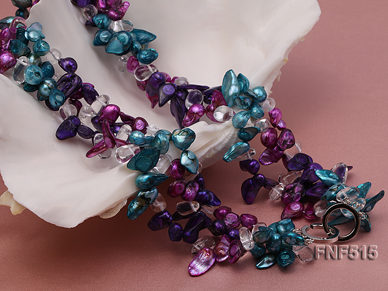 Three-strand 10-25mm Colorful Freshwater Pearl Necklace with Crystal Beads big Image 6