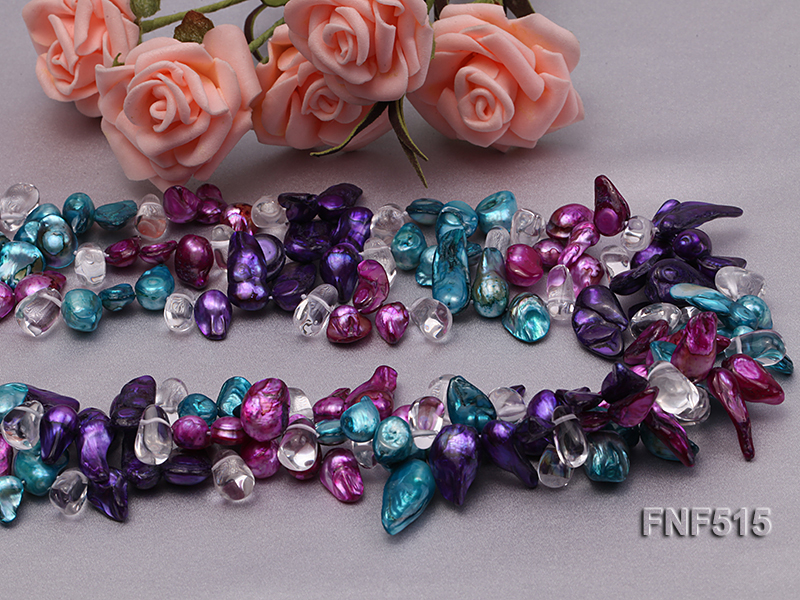 Three-strand 10-25mm Colorful Freshwater Pearl Necklace with Crystal Beads big Image 7