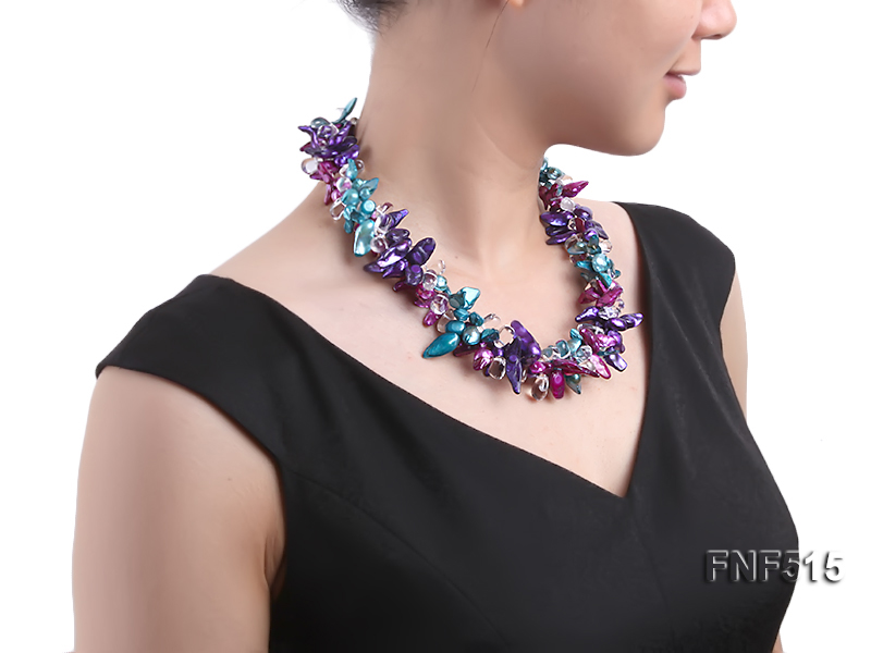 Three-strand 10-25mm Colorful Freshwater Pearl Necklace with Crystal Beads big Image 5