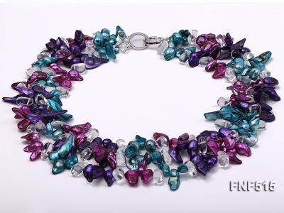 Three-strand 10-25mm Colorful Freshwater Pearl Necklace with Crystal Beads FNF515 Image 1