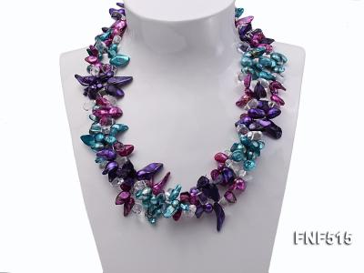Three-strand 10-25mm Colorful Freshwater Pearl Necklace with Crystal Beads FNF515 Image 2