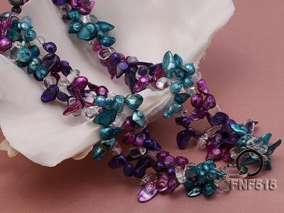 Three-strand 10-25mm Colorful Freshwater Pearl Necklace with Crystal Beads FNF515 Image 6