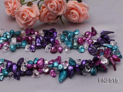 Three-strand 10-25mm Colorful Freshwater Pearl Necklace with Crystal Beads FNF515 Image 7