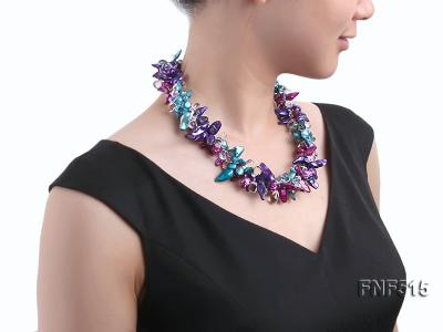 Three-strand 10-25mm Colorful Freshwater Pearl Necklace with Crystal Beads FNF515 Image 5