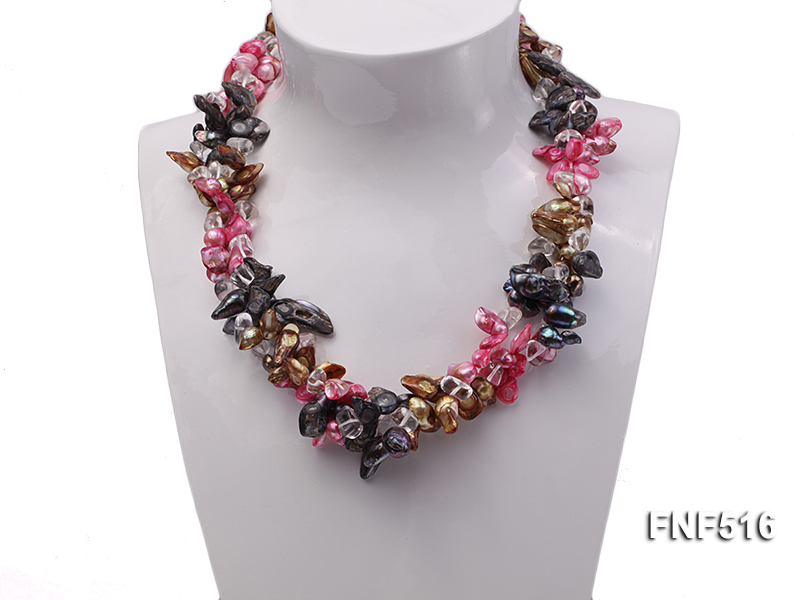 Three-strand Gray, Red and Coffee Freshwater Pearl Necklace with Crystal Beads big Image 2