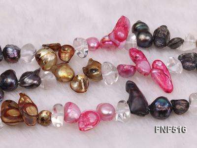 Three-strand Gray, Red and Coffee Freshwater Pearl Necklace with Crystal Beads FNF516 Image 7
