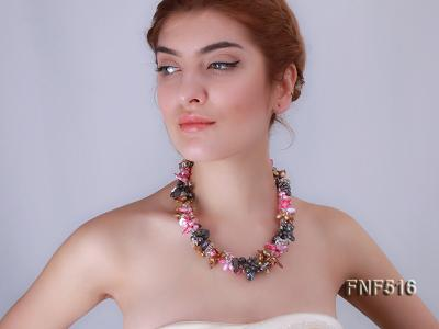Three-strand Gray, Red and Coffee Freshwater Pearl Necklace with Crystal Beads FNF516 Image 10