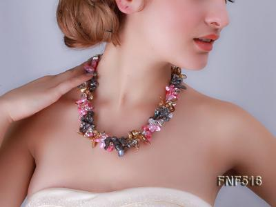 Three-strand Gray, Red and Coffee Freshwater Pearl Necklace with Crystal Beads FNF516 Image 11