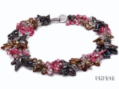 Three-strand Gray, Red and Coffee Freshwater Pearl Necklace with Crystal Beads FNF516 Image 1