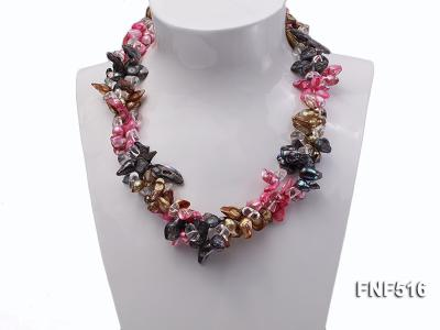 Three-strand Gray, Red and Coffee Freshwater Pearl Necklace with Crystal Beads FNF516 Image 2