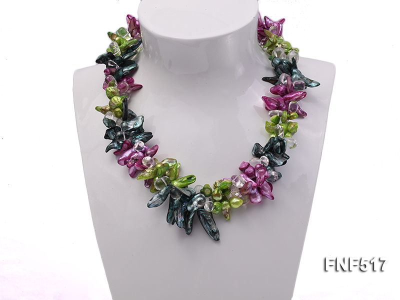 Three-strand Green, Dark-green and purple Freshwater Pearl Necklace with Crystal Beads big Image 2