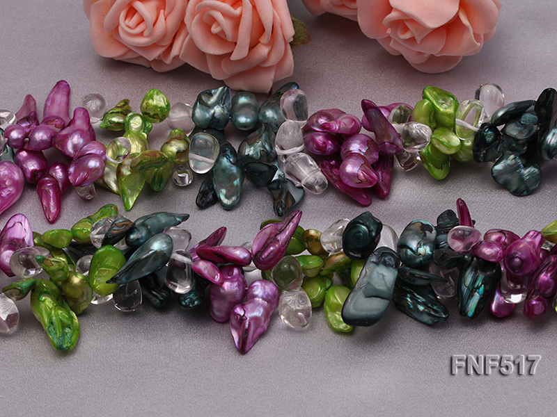 Three-strand Green, Dark-green and purple Freshwater Pearl Necklace with Crystal Beads big Image 4