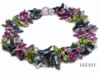 Three-strand Green, Dark-green and purple Freshwater Pearl Necklace with Crystal Beads FNF517 Image 1