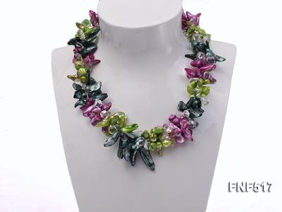 Three-strand Green, Dark-green and purple Freshwater Pearl Necklace with Crystal Beads FNF517 Image 2