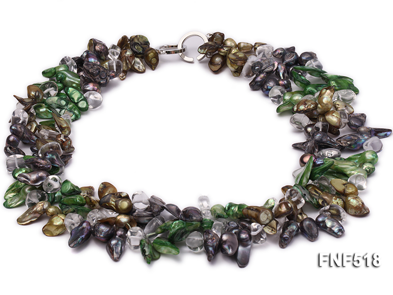 Three-strand dark-green, Coffee and Purple Freshwater Necklace Dotted with White Quartz Beads big Image 1