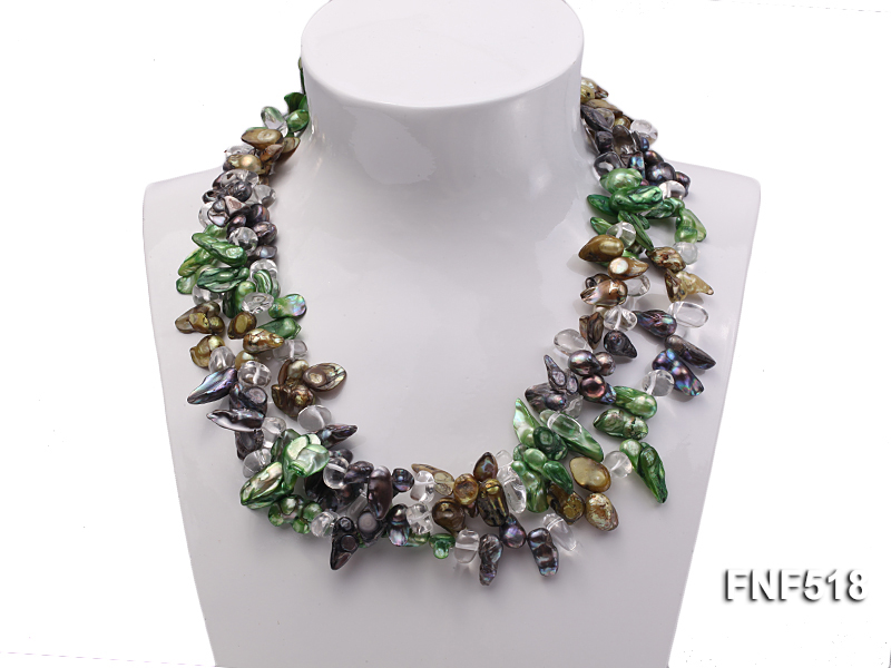 Three-strand dark-green, Coffee and Purple Freshwater Necklace Dotted with White Quartz Beads big Image 3