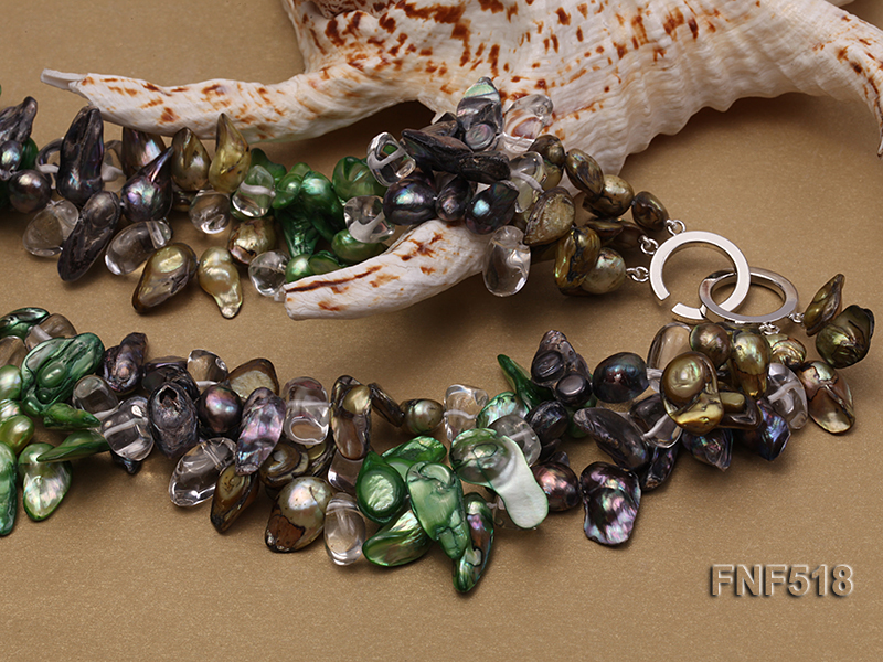 Three-strand dark-green, Coffee and Purple Freshwater Necklace Dotted with White Quartz Beads big Image 4