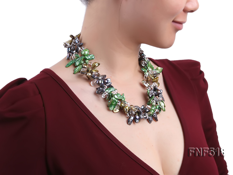 Three-strand dark-green, Coffee and Purple Freshwater Necklace Dotted with White Quartz Beads big Image 7