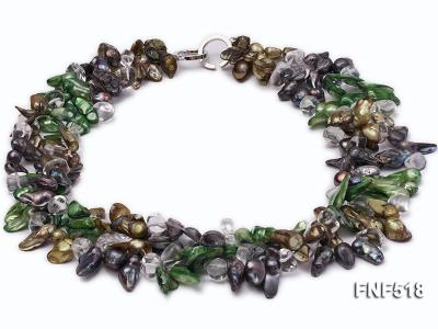 Three-strand dark-green, Coffee and Purple Freshwater Necklace Dotted with White Quartz Beads FNF518 Image 1