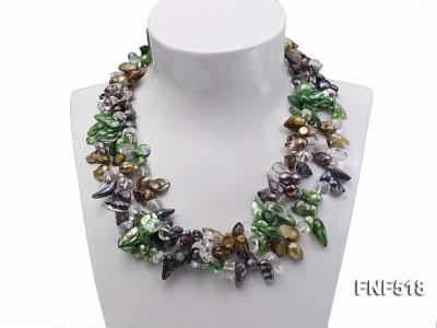 Three-strand dark-green, Coffee and Purple Freshwater Necklace Dotted with White Quartz Beads FNF518 Image 3