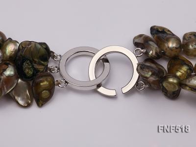 Three-strand dark-green, Coffee and Purple Freshwater Necklace Dotted with White Quartz Beads FNF518 Image 5