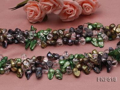 Three-strand dark-green, Coffee and Purple Freshwater Necklace Dotted with White Quartz Beads FNF518 Image 6