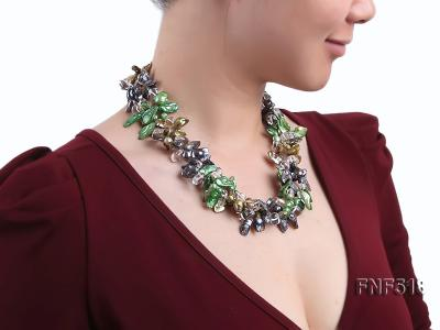 Three-strand dark-green, Coffee and Purple Freshwater Necklace Dotted with White Quartz Beads FNF518 Image 7