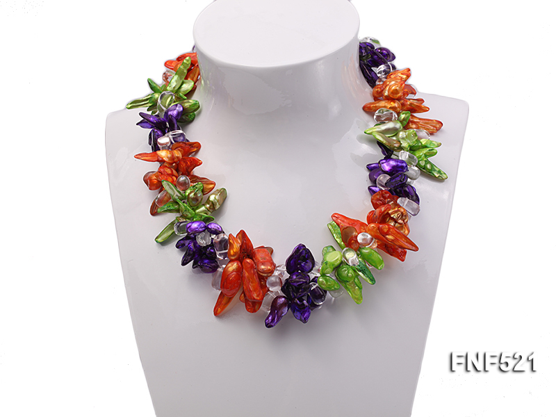 Three-strand Green, Yellow and purple Baroque Freshwater Pearl and White Crystal Beads Necklace big Image 2