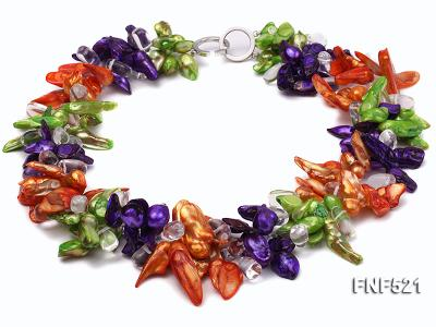 Three-strand Green, Yellow and purple Baroque Freshwater Pearl and White Crystal Beads Necklace FNF521 Image 1