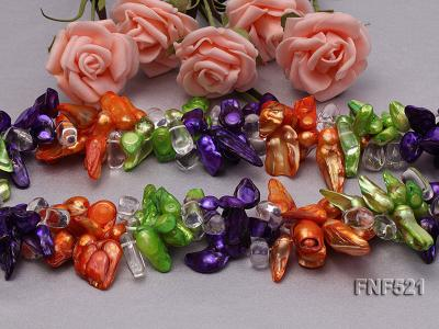 Three-strand Green, Yellow and purple Baroque Freshwater Pearl and White Crystal Beads Necklace FNF521 Image 3