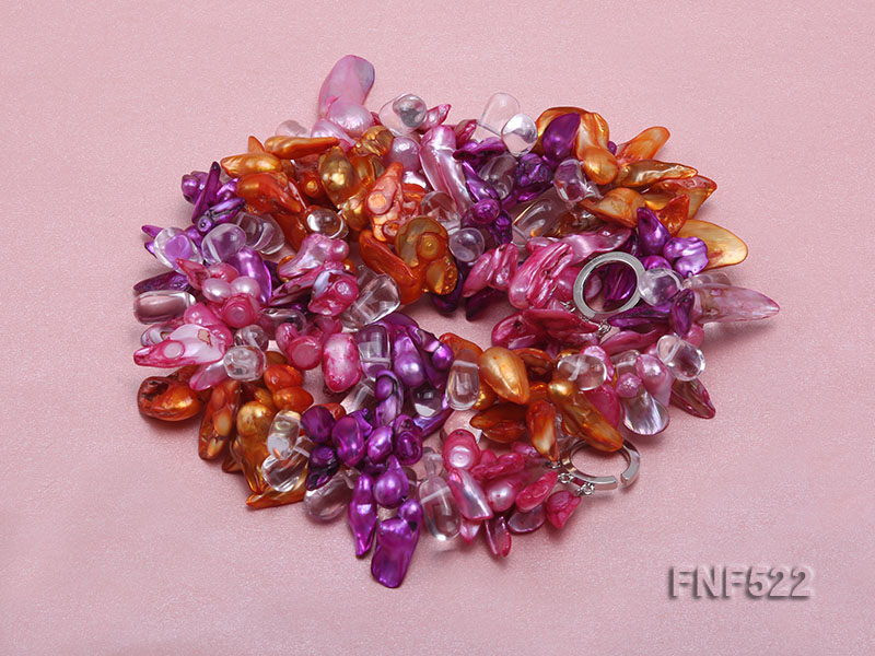 Three-strand 10-25mm Colorful Freshwater Pearl Necklace with Crystal Beads big Image 3