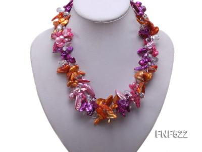Three-strand 10-25mm Colorful Freshwater Pearl Necklace with Crystal Beads FNF522 Image 5
