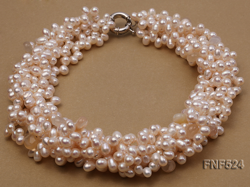 Multi-strand 5x7mm White Cultured Freshwater Pearl Necklace with Faceted Agate Beads big Image 1