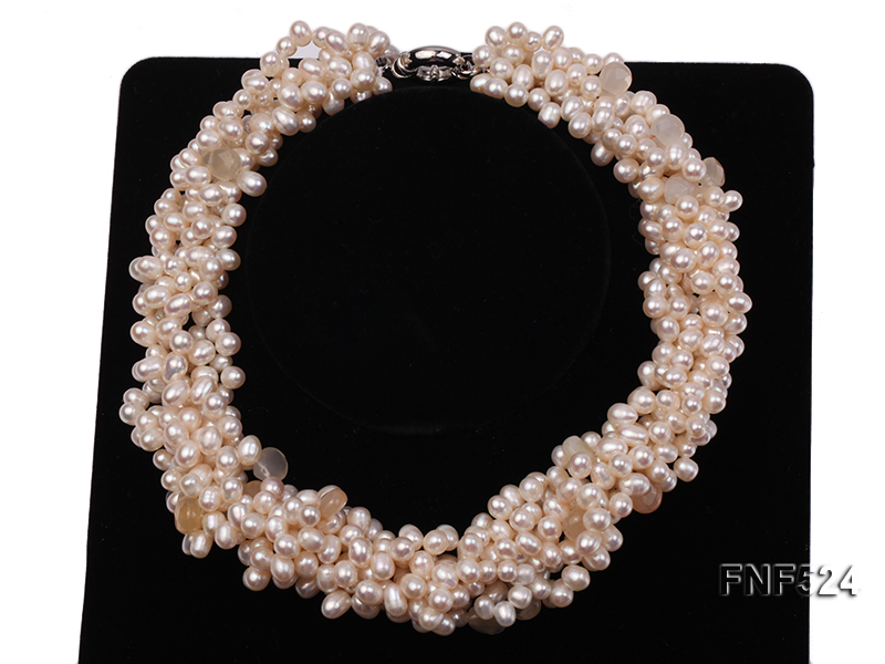 Multi-strand 5x7mm White Cultured Freshwater Pearl Necklace with Faceted Agate Beads big Image 3