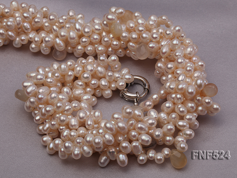 Multi-strand 5x7mm White Cultured Freshwater Pearl Necklace with Faceted Agate Beads big Image 4