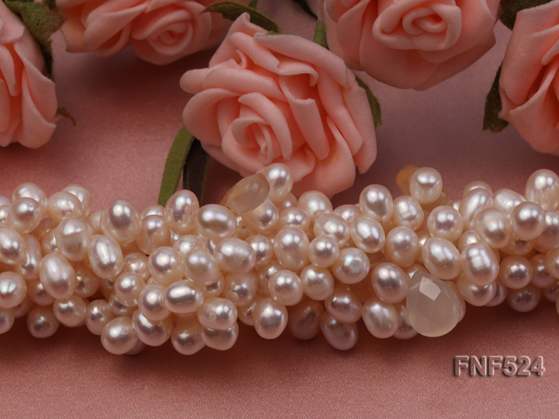 Multi-strand 5x7mm White Cultured Freshwater Pearl Necklace with Faceted Agate Beads big Image 6