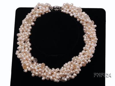 Multi-strand 5x7mm White Cultured Freshwater Pearl Necklace with Faceted Agate Beads FNF524 Image 3