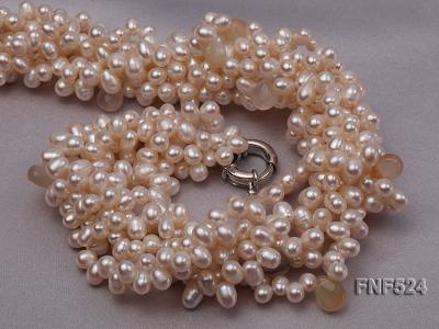 Multi-strand 5x7mm White Cultured Freshwater Pearl Necklace with Faceted Agate Beads FNF524 Image 4